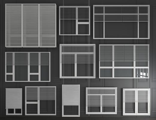 现代窗户组合3D模型【ID:341963236】