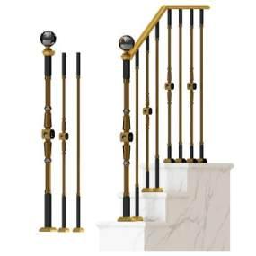 现代楼梯栏杆组合3D模型【ID:335631512】