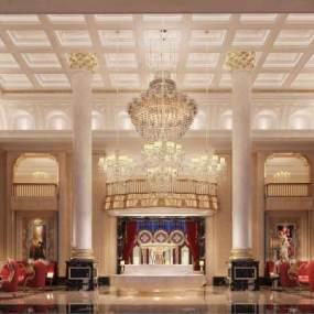 歐式奢華酒店會所大堂3D模型【ID:744021000】