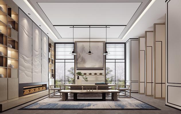 新中式茶室3D模型【ID:652866164】