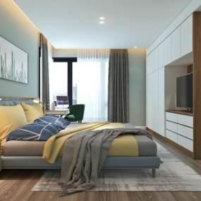 现代卧室3D模型【ID:543537270】