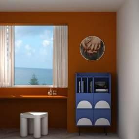 現代北歐簡約收納柜餐邊柜書柜玄關柜凳子3D模型【ID:149062049】