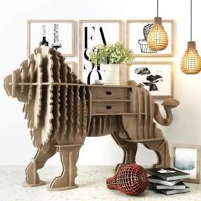 現代北歐獅子動物展示柜架3D模型【ID:143875191】
