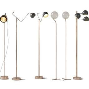 現代金屬落地燈組合3D模型【ID:853013269】