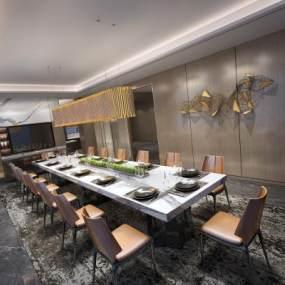 现代风格餐厅3D模型【ID:543460198】