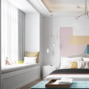 现代北欧卧室3D模型【ID:532169272】