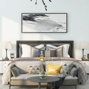 现代黑白灰双人床挂画床头柜组合3D模型【ID:835724722】