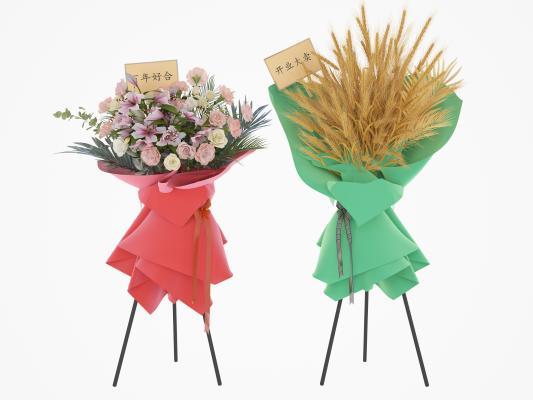 现代婚庆开业庆典大麦花艺3D模型【ID:344627685】