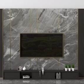 现代电视背景造型墙3D模型【ID:953093919】
