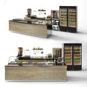 现代咖啡馆吧台3D模型【ID:934709289】