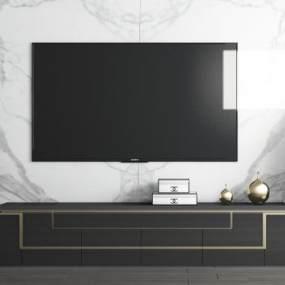 现代电视柜大理石背景3D模型【ID:537136016】