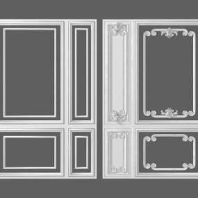 簡歐石膏線條背景墻3D模型【ID:248203708】