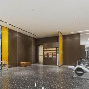 现代酒店健身房3D模型【ID:743310861】
