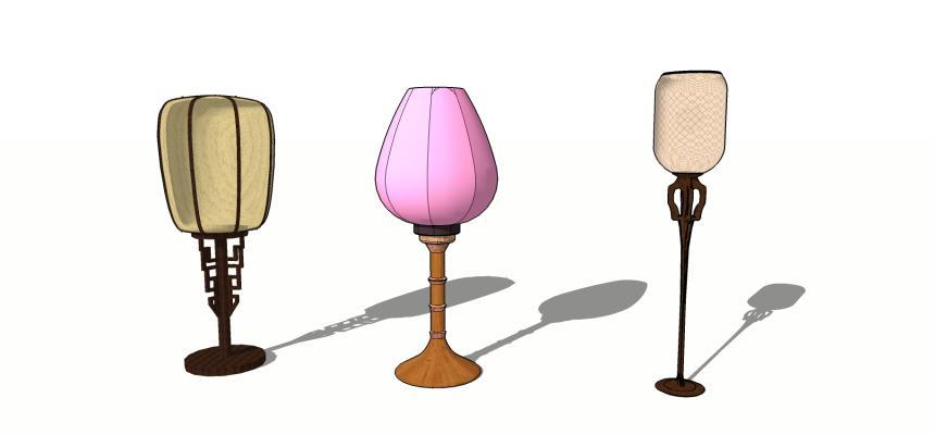 中式落地燈SU模型【ID:449177238】