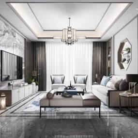 新中式客厅3D模型【ID:531978090】