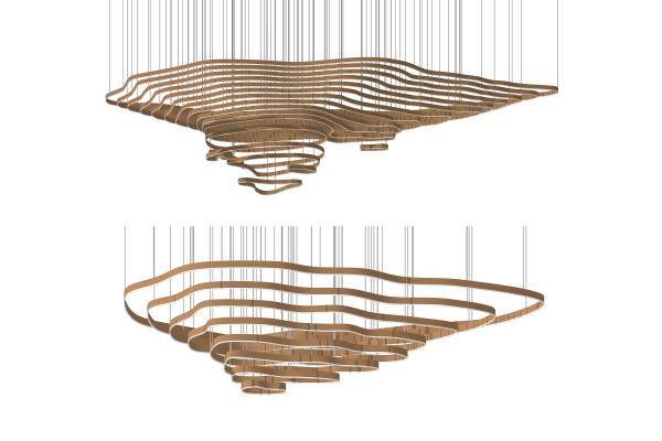 現代吊燈組合SU模型【ID:345059877】