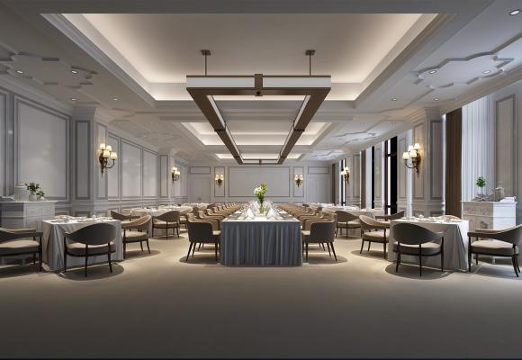 欧式酒店宴会厅3D模型【ID:743121211】