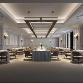 歐式酒店宴會廳3D模型【ID:743121211】