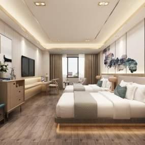 新中式酒店客房3D模型【ID:744129316】