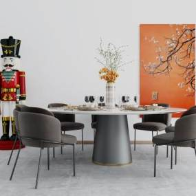 現代餐桌椅組合3D模型【ID:851414803】