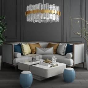 新中式实木拐角沙发组合 3D模型【ID:640933711】