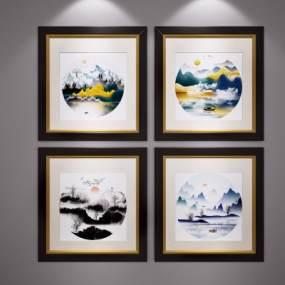 新中式山水畫掛畫裝飾畫3D模型【ID:248996982】