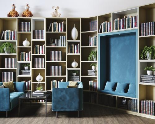 现代图书馆阅览区 休闲沙发 书柜组合