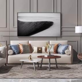 现代沙发茶几组合3D模型【ID:636034711】