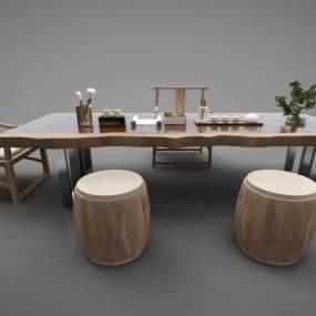 新中式风格茶桌3D模型【ID:844458962】
