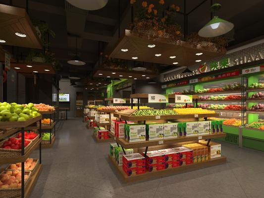 现代水果超市3D模型【ID:143915168】