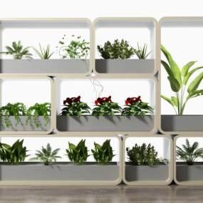 现代绿植花架隔断3D模型【ID:344628700】