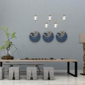 新中式泡茶桌椅组合3D模型【ID:930586573】