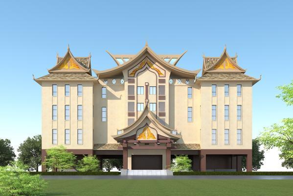 東南亞風格辦公樓3D模型【ID:146572946】