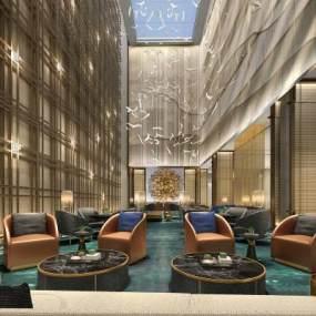现代酒店洽谈区3D模型【ID:644109580】