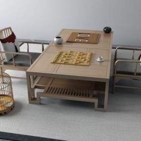 新中式茶桌3D模型【ID:733713700】