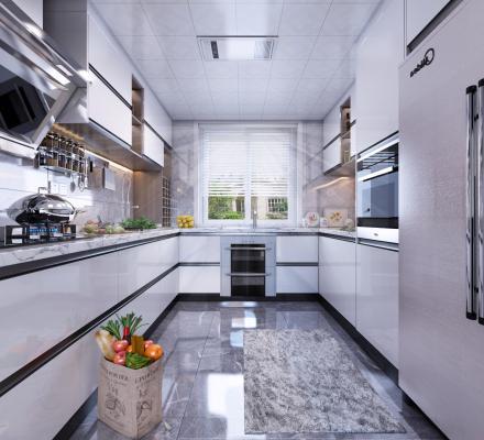 现代厨房3D模型【ID:550120302】