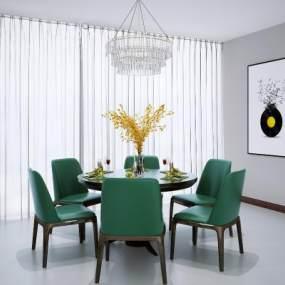 新中式圓形餐桌椅3D模型【ID:845746821】
