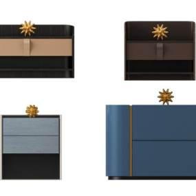现代轻奢简欧式床头柜组合 3D模型【ID:841511942】