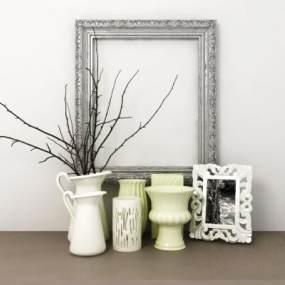 新古典花瓶相框組合3D模型【ID:249245590】