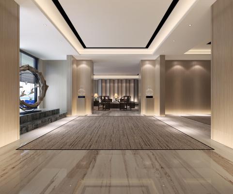 现代办公室前厅过道3D模型【ID:944022588】