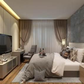 现代酒店客房3D模型【ID:735357360】