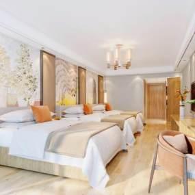 新中式酒店客房3D模型【ID:743408391】