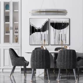 現代輕奢餐桌椅組合3D模型【ID:648898792】