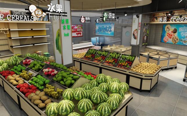 现代超市3D模型【ID:135227108】