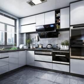 现代风格厨房橱柜3D模型【ID:543510307】