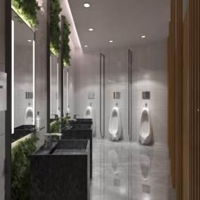 工装绿化现代卫生间3D模型【ID:931647939】