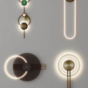 現代輕奢壁燈3D模型【ID:748881971】