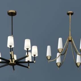 现代金属吊灯组合3D模型【ID:731775841】