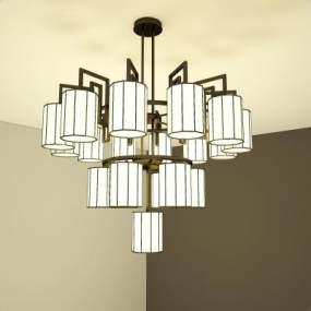 新中式吊灯3D模型【ID:736233869】