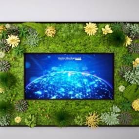 现代植物墙3D模型【ID:246295732】